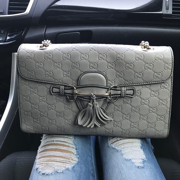 f792ded7cde5 a'gaci Handbags - GUCCI Grey Guccissima Leather Medium Emily Chain